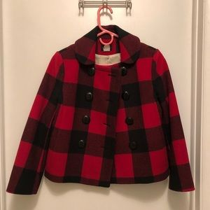 J. Crew peacoat red and black plaid